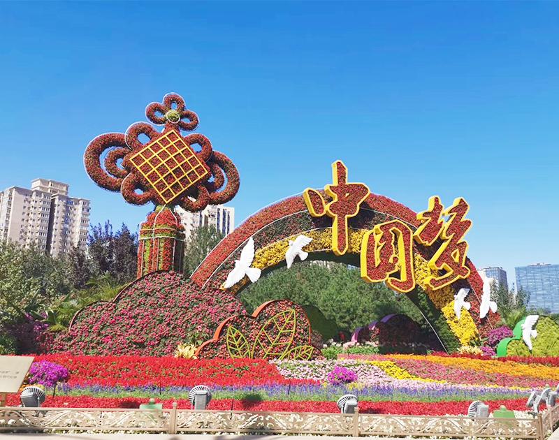 广场五色草造型-中国梦